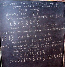 Derivations of natural numbers using set and set membership, other finite differences to calculus bits.